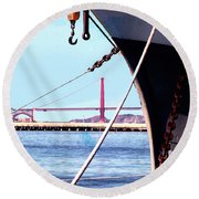 Docked In San Francisco Bay Round Beach Towel