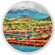 Docked In St. Kitts Round Beach Towel