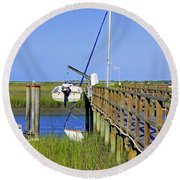 Docked On The Bay Round Beach Towel