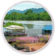 Docking Area On River Kwai In Kanchanaburi-thailand Round Beach Towel