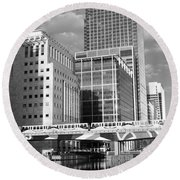 Docklands London Mono Round Beach Towel