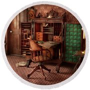 Doctor - Desk - The Physician's Office  Round Beach Towel