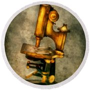 Doctor - Microscope - The Start Of Modern Science Round Beach Towel by Mike Savad