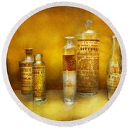 Doctor - Oil Essences Round Beach Towel by Mike Savad