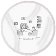 Doctor Speaks To Patient Over Desk Round Beach Towel by Zachary Kanin