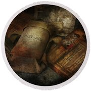 Doctor - Wwii Emergency Med Kit Round Beach Towel by Mike Savad