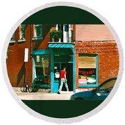 Documenting Vintage Montreal Depanneur Deli Wilensky Montreal Restaurant Paintings Cspandau  Art Round Beach Towel