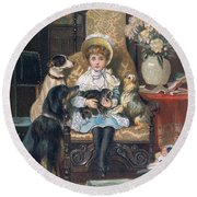 Doddy And Her Pets Round Beach Towel by Charles Trevor Grand