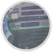 Dodge Ram With Decreased Color Value Round Beach Towel