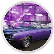 Dodge Rt Purple Abstract Background Round Beach Towel