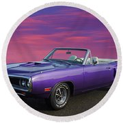Dodge Rt Purple Sunset Round Beach Towel
