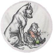 Dog And Child Round Beach Towel by Robert Noir