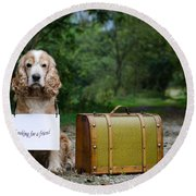 Dog And Suitcase Round Beach Towel