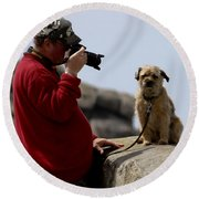 Dog Being Photographed Round Beach Towel