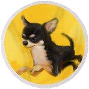 Dog Chihuahua Yellow Splash Round Beach Towel