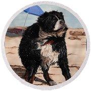 Dog Days Of Summer V2 Round Beach Towel