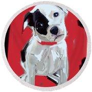 Dog Doggie Red Round Beach Towel