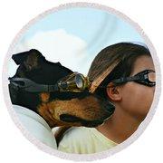 Dog Is My Co-pilot Round Beach Towel