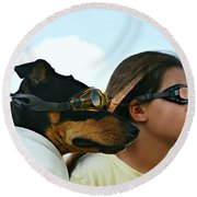 Dog Is My Co-pilot Round Beach Towel by Laura Fasulo
