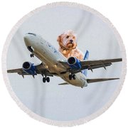 Dog Pilot Round Beach Towel