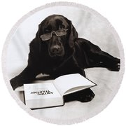 Dog Reading James Thurber Round Beach Towel