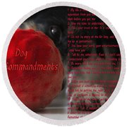 Dog Ten Commandments Round Beach Towel