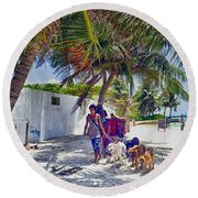 Dog Walker Round Beach Towel