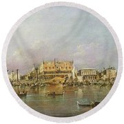 Doges Palace And View Of St. Marks Basin, Venice Oil On Canvas Round Beach Towel