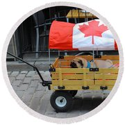 Dog's Life In Canada Round Beach Towel