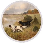 Dogs On The Scent Round Beach Towel