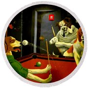 Dogs Playing Pool Wall Art Unknown Painter Round Beach Towel