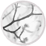 Dogwood Blossoms Black And White Round Beach Towel