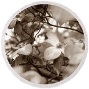 Dogwood Blossoms Round Beach Towel by Sharon Popek