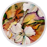 Dogwood In Spring Colors Round Beach Towel by Lil Taylor