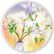 Dogwood In Watercolor Round Beach Towel