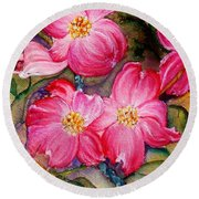 Dogwoods In Pink Round Beach Towel