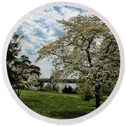 Dogwoods In Summer Round Beach Towel