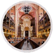 Dohany Street Synagogue In Budapest Round Beach Towel