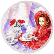 Doll At The Tea Party  Round Beach Towel