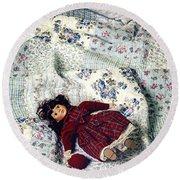Doll On Bed Round Beach Towel by Joana Kruse