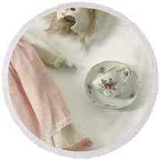 Doll With Tea Cup Round Beach Towel