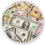 Dollars Background.  Round Beach Towel