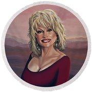 Dolly Parton 2 Round Beach Towel by Paul Meijering