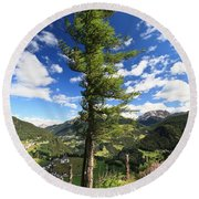 Dolomites - Tree Over The Valley Round Beach Towel
