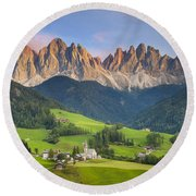 Dolomites From Val Di Funes Round Beach Towel