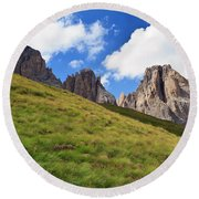 Dolomites On Summer Round Beach Towel