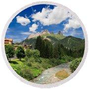 Dolomiti - Fassa Valley Round Beach Towel