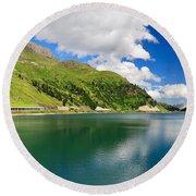 Dolomiti - Fedaia Lake Round Beach Towel