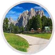 Dolomiti - Gardecia With Catinaccio Mount Round Beach Towel