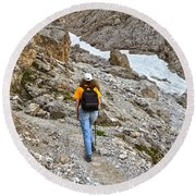 Dolomiti - Hiker In Val Setus Round Beach Towel
